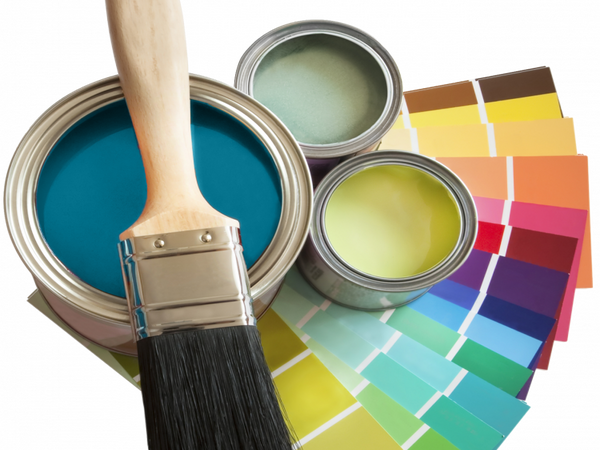 Paint brush and cans and color samples