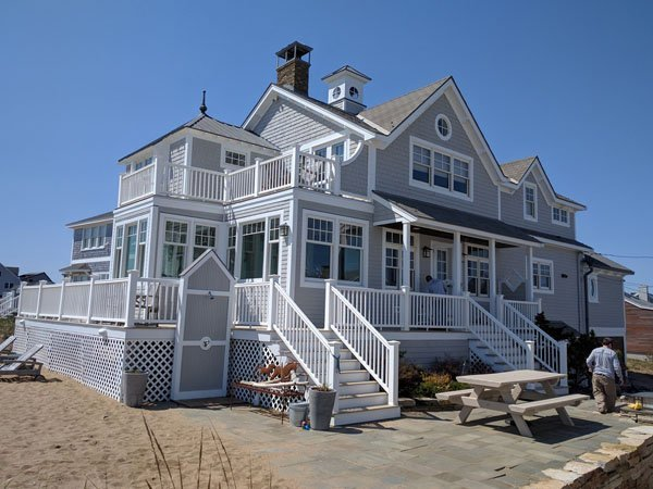 Gray painted beach house in Marblehead