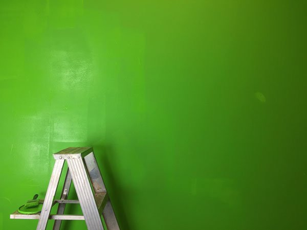 Wall with a shiny paint sheen