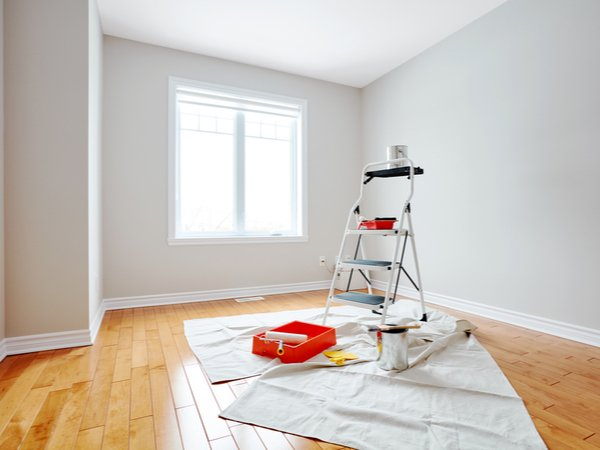 Room being set up for interior painting